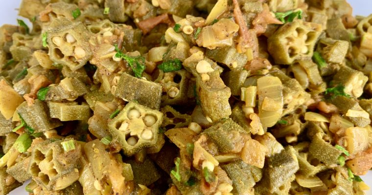 Bhindi Masala (Okra with Tomatoes, Onions and Spices)